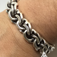 Chunky, Unusual Mexican Garibaldi Link ID Bracelet for Men | BY Silverwow