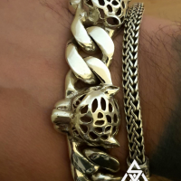 Chunky, Unique Panther Head Sterling SIlver Bracelet for Men by Roman
