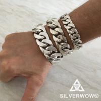 Silver Chunky Curb Bracelet - 15mm-20mm-25mm