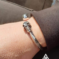 Really Unique and Chunky Skull Cuff Bangle worn by Gee & Kay from UK | BY Silverwow