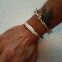 Mens ID Plate Bangle & Barbed Wire Bangle