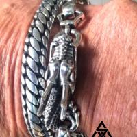 John wearing the Dragon & Woven Snake Sterling Silver Bracelet from Silverwow