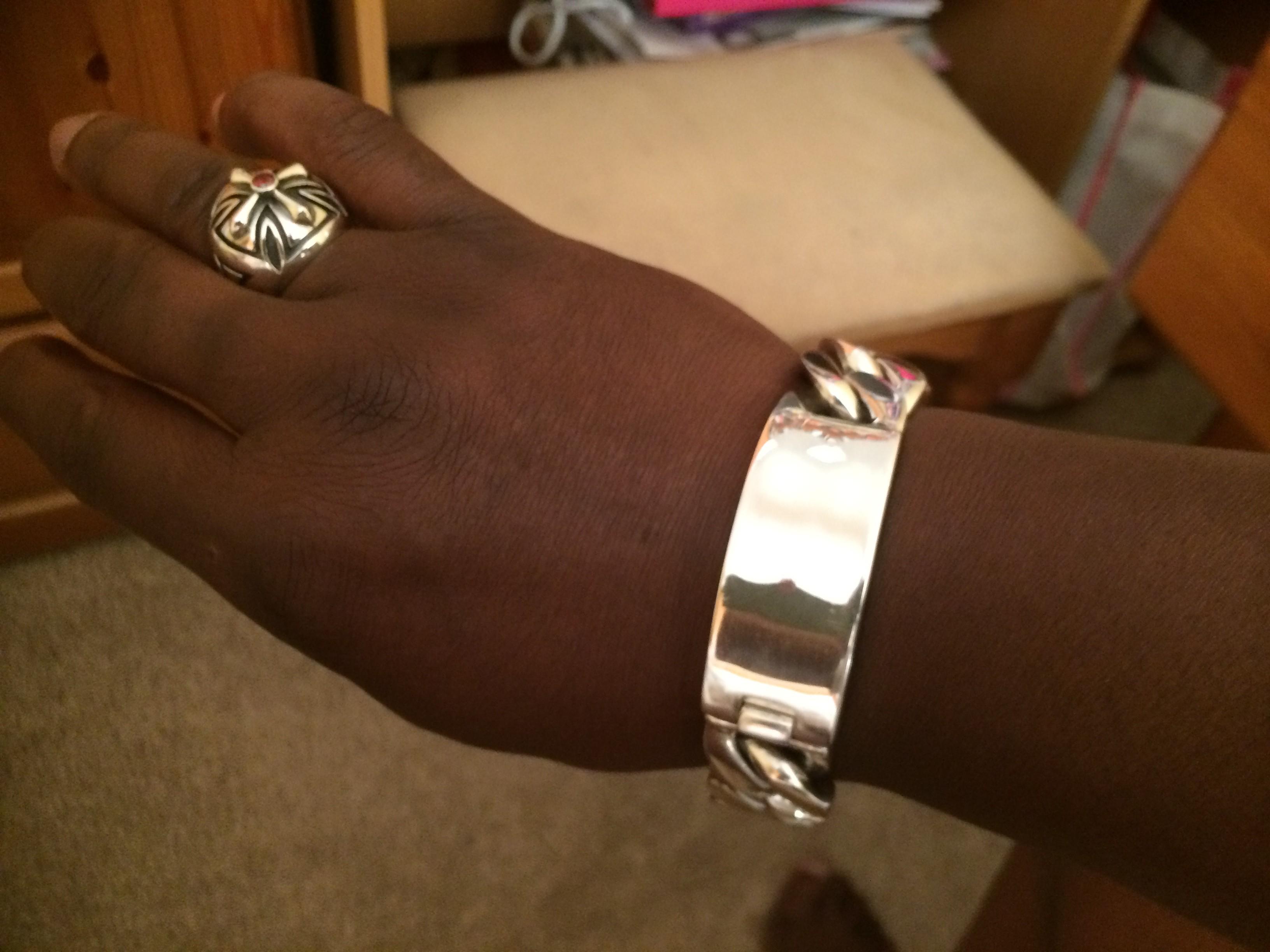 Mens Silver 20mm Identity ID Bracelet