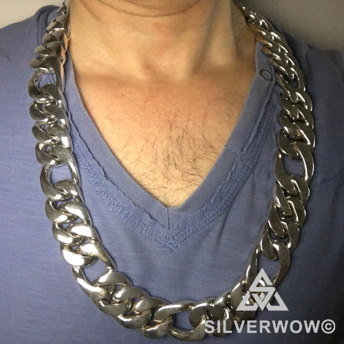 Wide Figaro Necklace Chain Link - 25mm x25 inch wide