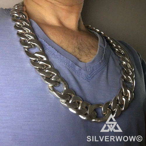 25mm x 26inch Wide Figaro Necklace Chain Link
