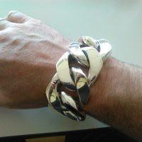40mm Silver Curb Chain Bracelet